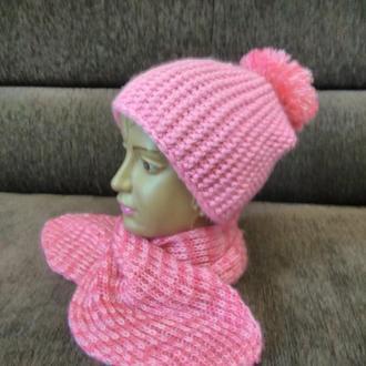 Шапка и шарф ручной работы для девочки 3-5 лет