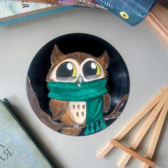 Картина совёнок интерьерная круглая картина на подарок сова совёнок декор для дома детской спальни