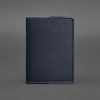 Кожаная обложка для паспорта 1.3 темно-синяя