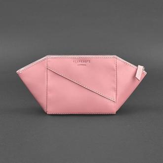 Женская розовая кожаная косметичка Краст