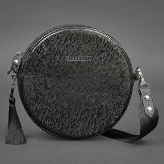 Круглая женская кожаная сумочка Tablet черная  Blackwood