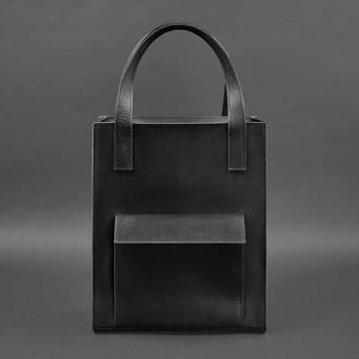Кожаная женская сумка шоппер Бэтси с карманом черная