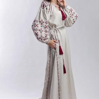 Длинное платье с вышивкой, лен  бежевый