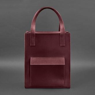 Кожаная женская сумка шоппер Бэтси с карманом бордовая