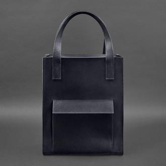 Кожаная женская сумка шоппер Бэтси с карманом синяя