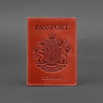 Кожаная обложка для паспорта с украинским гербом коралловая