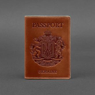 Кожаная обложка для паспорта с украинским гербом коричневая