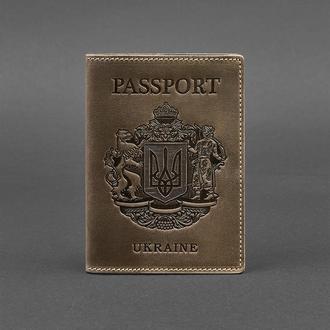 Кожаная обложка для паспорта с украинским гербом темно-коричневая