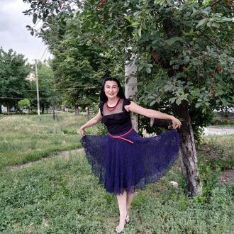 Ажурная вязаная юбка из льна