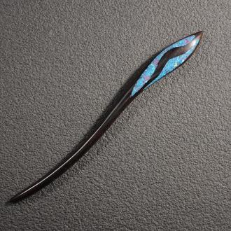Шпилька для волос из дерева палисандра с камнями