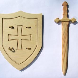 Детский Рыцарский мечВикинга 54 см со щитом Английский рыцарский 42х32 см