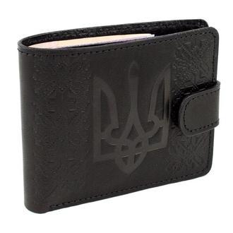 Кожаное мужское портмоне с гербом П6-01 (черное)