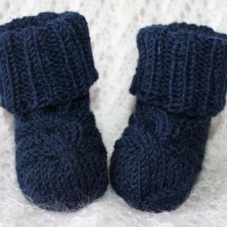 Темно-синие носочки овечья шерсть 100%