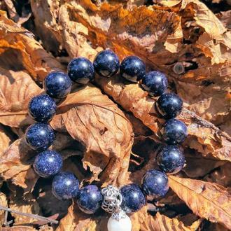 Браслет из натуральных камней, браслет из авантюрина, синий браслет, браслет оберег