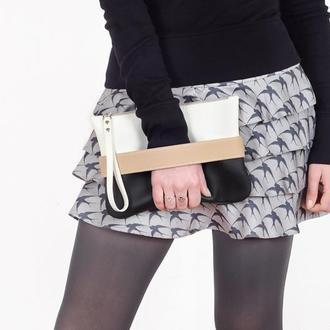 """Черно-белый клатч """"CarryMe"""", сумочка через плечо"""