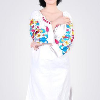 Платье из льна с хлопковым кружевом, цвет белый