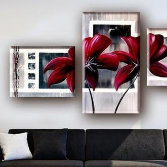 """Модульная картина """"Красные цветы в рамке"""""""