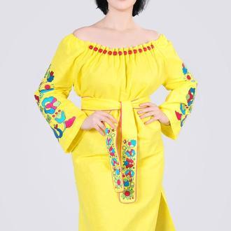 Платье с вышивкой изо льна, желтое