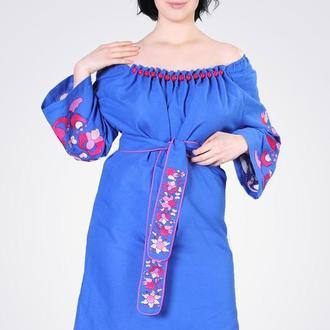 Льняное платье миди с вышивкой, синее