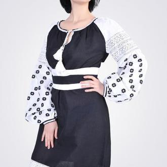 Платье миди с геометрической вышивкой, черное