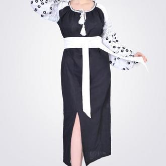 Платье макси с геометрической вышивкой, черное