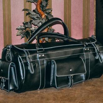 Большая спортивная сумка, Кожаная черная дорожная сумка