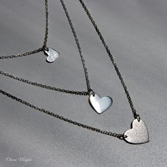 Серебряное колье сердечки, серебряная подвеска сердце, ювелирное колье, кулон сердце