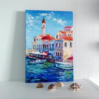 Современная картина мастихином - Сказочная гавань