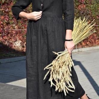 Черное льняное платье с отрезной талией на пуговицах