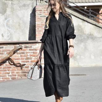 Черное льняное платье с V-вырезом и кружевом