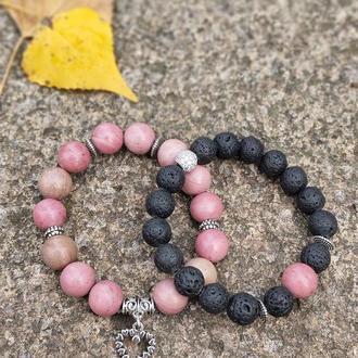 Набор браслетов из натуральных камней, браслет из родонита, браслет из лавового камня, браслет обере