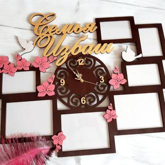 Фоторамка  часы′Семья′ именная 82х68 см