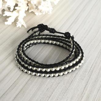 Кожаный браслет в стиле Chan Luu с имитацией жемчуга