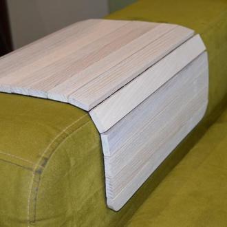 Деревянная накладка-столик на подлокотник дивана (белый)