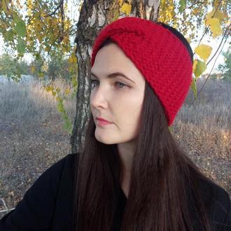 Тёплая вязаная повязка на голову красного цвета перехлёст повязка hand made осень/зима