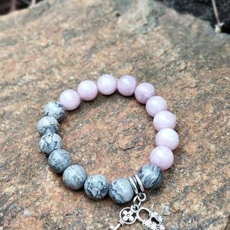 Браслет из натуральных камней, браслет из яшмы, розового кварца, браслет на подарок, оберег