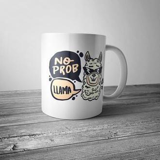 """Чашка с принтом """"No prob Llama"""""""