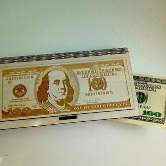 Шкатулка-конверт для денег из дерева Доллар США, деревянный конверт подарочный
