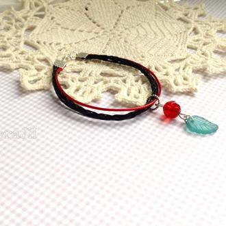 Молодежные  браслеты с подвеской из чешских кристаллов,2 шт.