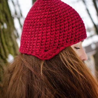 Дуже тепла шапка кольору марсала і італійської альпаки