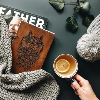блокнот в деревянной обложке СОВА