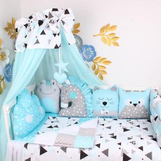 Комплект в кроватку бомбон и игрушки в Лазурном цвете
