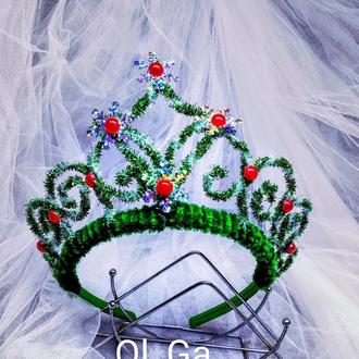 Корона Зелёная  диадема на ободке