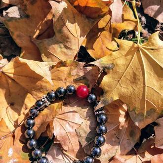 Браслет из натуральных камней, браслет из гематита, кварца, браслет на подарок, оберег