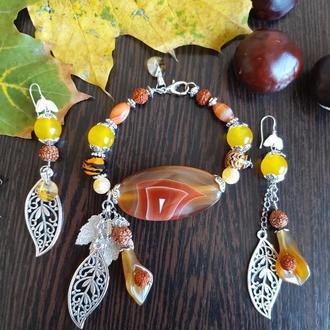 Дизайнерский набор Краски осени из натуральных камней  Агата, Сердолика и Рудракши