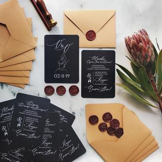 """""""MNML Noir"""" Свадебные приглашения/подарочные сертификаты ручной работы формата А6 комплект"""