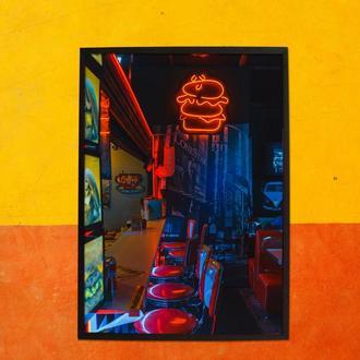 Постер Bar NEON в черной рамке А2
