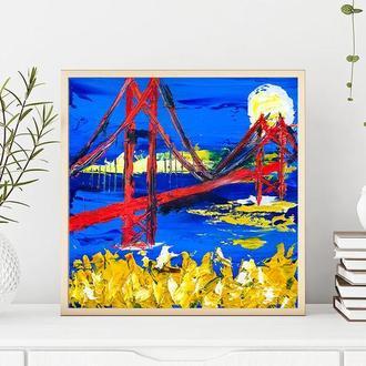 Мост (картина масло/холст на картоне) 20х20 см