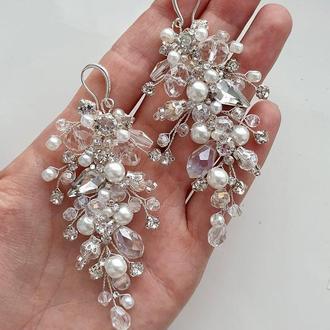 Свадебные серьги, длинные серьги, серьги для невесты, сережки