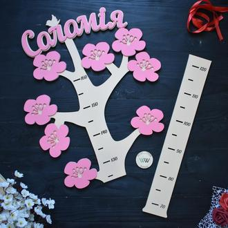 Детский ростомер в виде дерева с цветочками, сакура, ростомер с именем